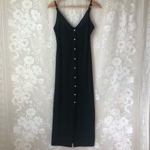 Elia Cher Black Maxi Tank Dress Button Semi Sheer